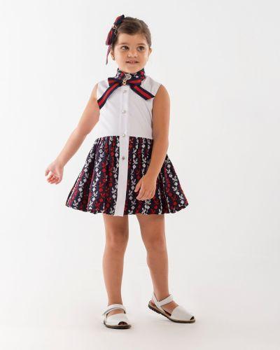 Girls Naxos Navy, Red and White Dress 6738