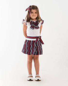 Girls Naxos Navy, Red and White Top and Skirt Set 6767 6747