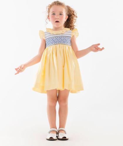 Girls Naxos Hand Smocked Dress 6728 Lemon