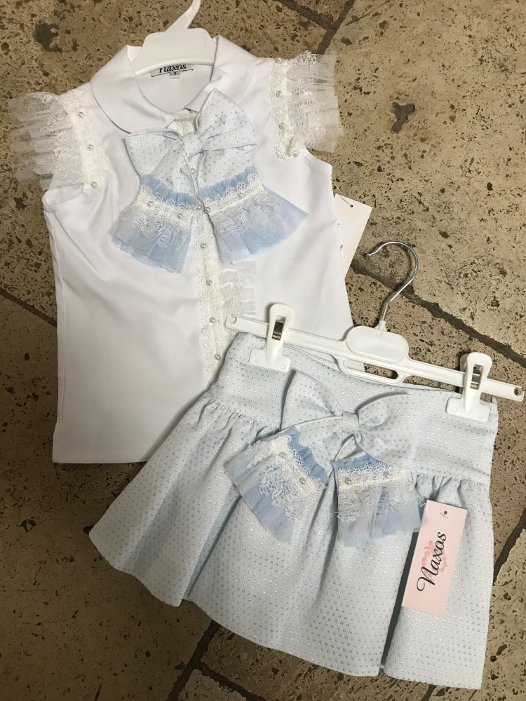 Girls Naxos Blue and White Top and Skirt Set 6743 6759