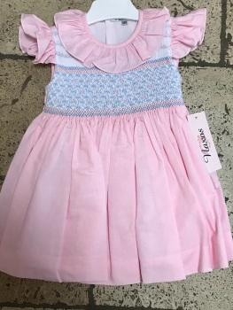 Girls Naxos Hand Smocked Dress 6728 Pink