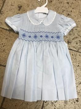 Girls Naxos Hand Smocked Dress 6730 Blue
