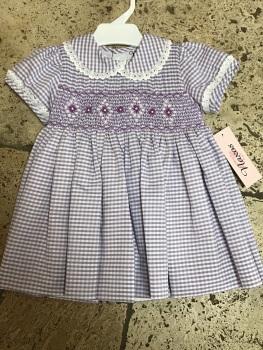 Girls Naxos Hand Smocked Dress 6730 Lilac Gingham
