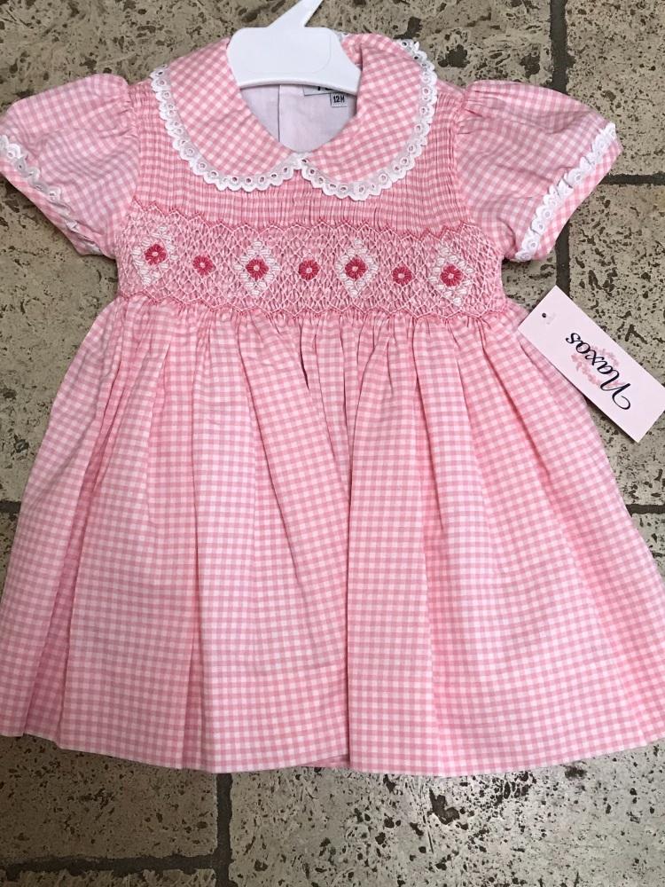 Girls Naxos Hand Smocked Dress 6730 Pink Gingham
