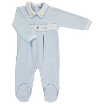 Peter Rabbit Collection Mini la Mode Peter Rabbit Running Smocked Footsie SLBC04A - Blue and White