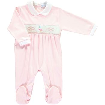 Peter Rabbit Collection Mini la Mode Jemima Puddle Duck Smocked Footsie SLBC06A - Pink and White