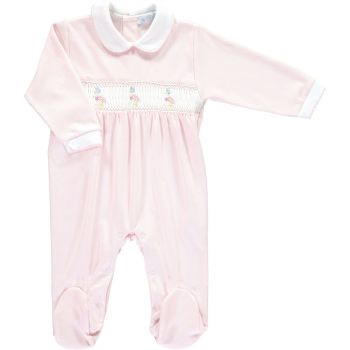 Peter Rabbit Collection Mini la Mode Jemima Puddle Duck Smocked Footsie SLBC99AG - Pink and White