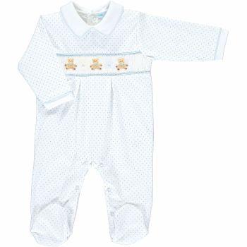 Mini la Mode Smocked Babygrow - Nursery Bears SLBC08A Blue Spots