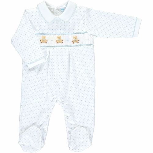 Mini la Mode Smocked Babygrow - Teddy Bears SLBC08A Blue Spots