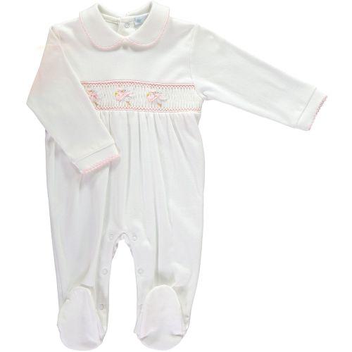 Mini la Mode Smocked Babygrow - Storks SLBC94AG White and Pink