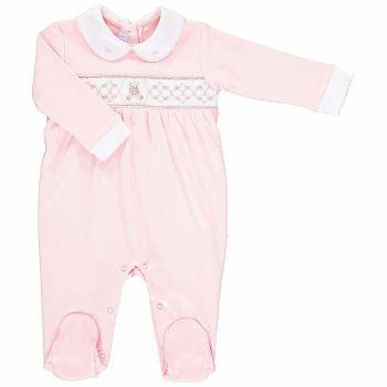 Mini la Mode Smocked Babygrow - Teddy Bear SLCZ01AG Pink and White