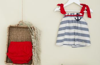 Girls Basmarti Blue, White and Red Top and Pants Set 21100