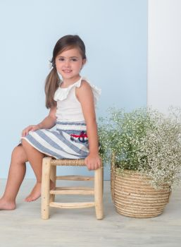 Girls Basmarti Blue, White and Red Top and Skirt Set 21112