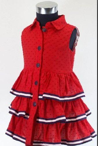 Girls Basmarti Red, White and Navy Dress 21152