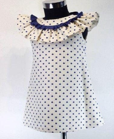 Girls Cuka Blue and Beige Dress 88632