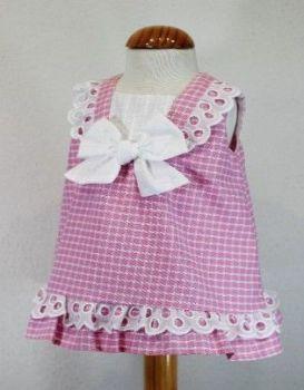 Girls Cuka Pink and White Dress 88681
