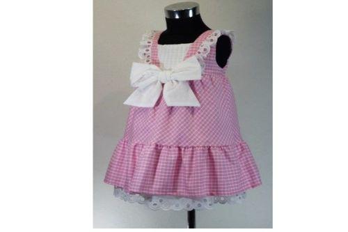 Girls Cuka Pink and White Dress 88690