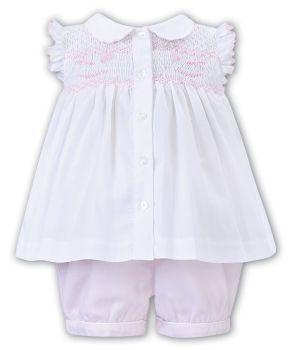 Girls Sarah Louise 2 Piece Set 012208 White and Pink