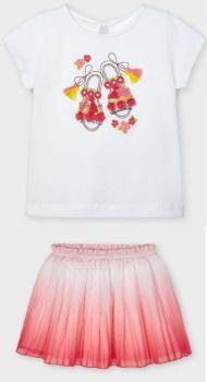 Girls Mayoral Top and Skirt Set 3907 3014 Flamingo