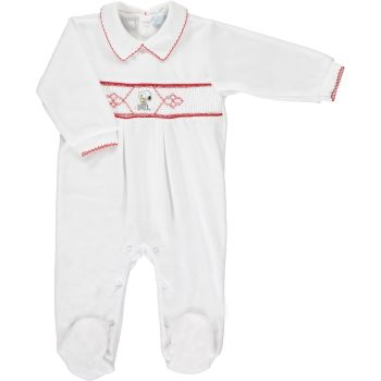 Mini la Mode Smocked Babygrow - Snoopy SLBC02A White and Red