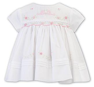 Girls Sarah Louise Dress 012235 White and Pink