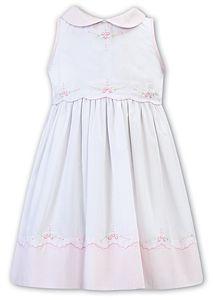 Girls Sarah Louise Dress 012271 White and Pink