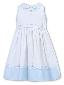 Girls Sarah Louise Dress 012271 White and Blue