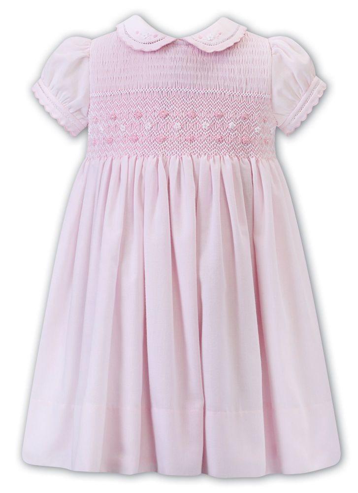 Girls Sarah Louise Dress 012293 Pink and White