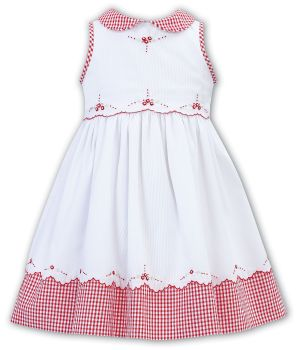 Girls Sarah Louise Dress 012321 White and Red