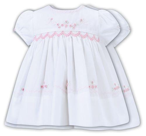 Girls Sarah Louise Dress 012222 White and Pink