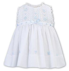 Girls Sarah Louise Dress 012245 White and Blue