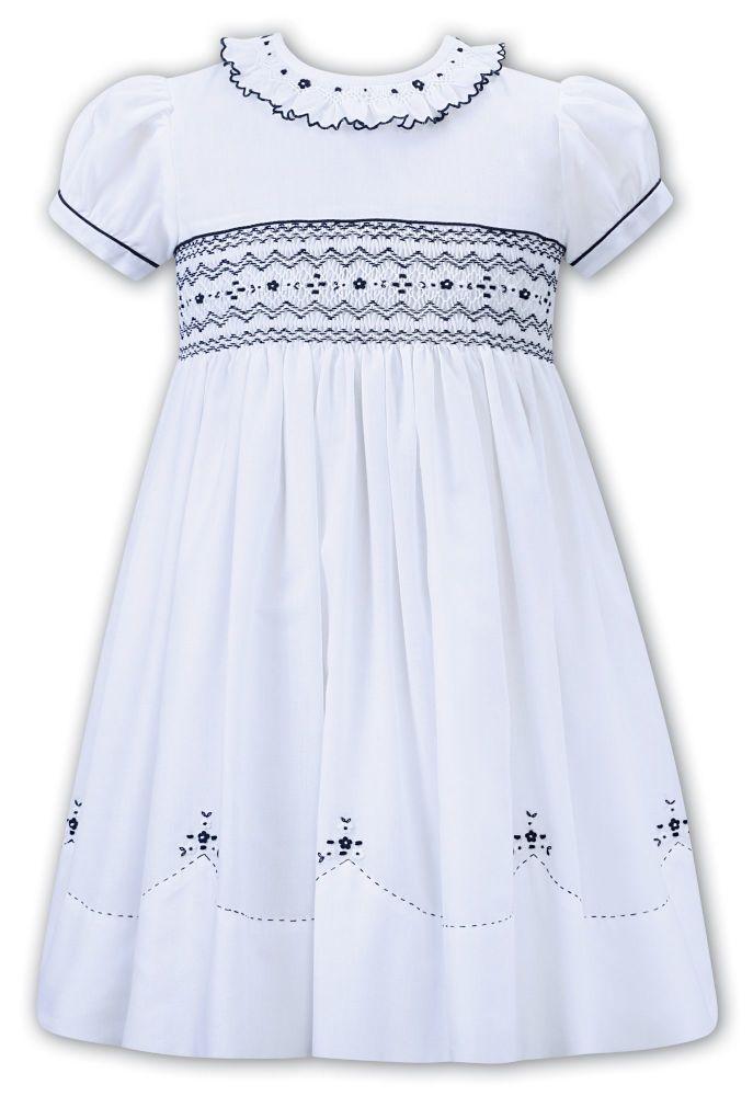 Girls Sarah Louise Dress 012276 White and Navy