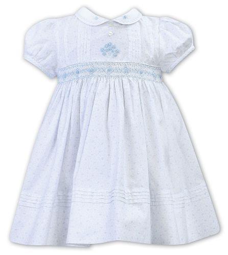 Girls Sarah Louise Dress 012301 White and Blue