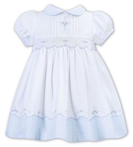 Girls Sarah Louise Dress 012320 White and Blue