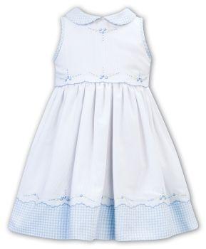 Girls Sarah Louise Dress 012321 White and Blue