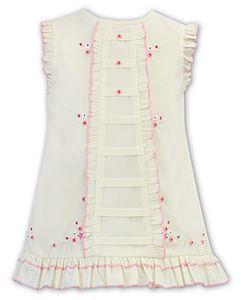 Girls Sarah Louise Dress 012248 Lemon and Pink