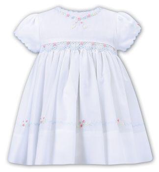 Girls Sarah Louise Dress 012230 White and Blue