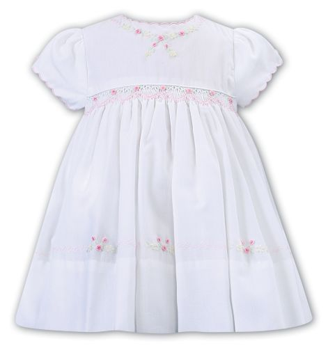 Girls Sarah Louise Dress 012230 White and Pink