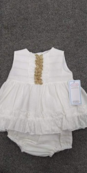Girls Eva Cream Dress and Pants 1034