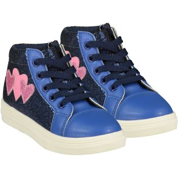 Girls A*Dee Trainers W21502 Bright Blue Hearts