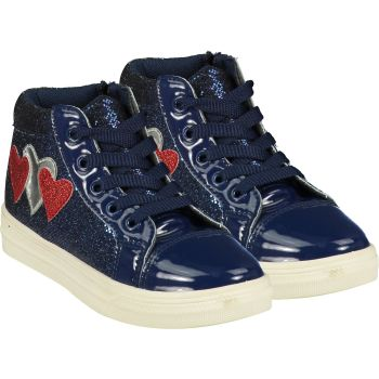 Girls A*Dee Trainers W21502 Navy Hearts