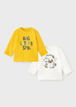 Boys Mayoral Long Sleeve Top 2 Pack 2068 - Gold 47