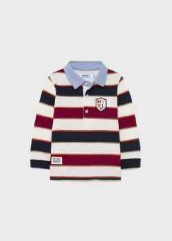 Boys Mayoral Long Sleeve Polo 2140 Bordeaux 58