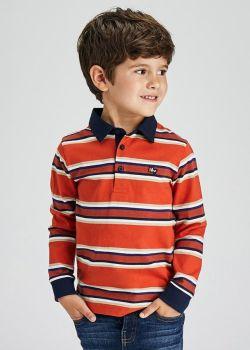 Boys Mayoral Long Sleeve Polo 4156 Orange 87