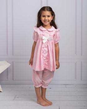 Girls Caramelo Hand Smocked Pyjamas 138171 Pink