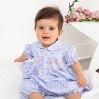 Girls Caramelo Hand Smocked Pyjamas 138012 Indigo