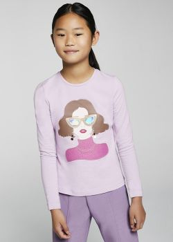 Girls Mayoral Long Sleeve Top 7084 Lilac 81