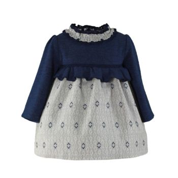 PRE ORDER Girls Miranda Navy and Grey Dress 165