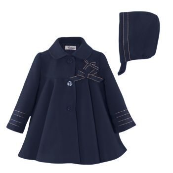 Girls Miranda Navy Coat and Bonnet 122