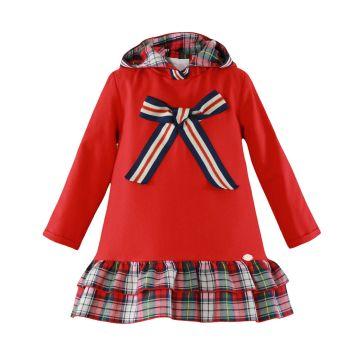 Girls Miranda Red and Grey Tartan Dress 252